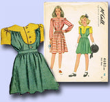 1940s Vintage McCall Sewing Pattern 4682 WWII Girls Shirtwaist Dress Size 14 - Vintage4me2