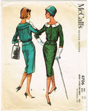 1950s Vintage McCall's Sewing Pattern 4706 Misses 2 Piece Suit Dress Size 16 36B