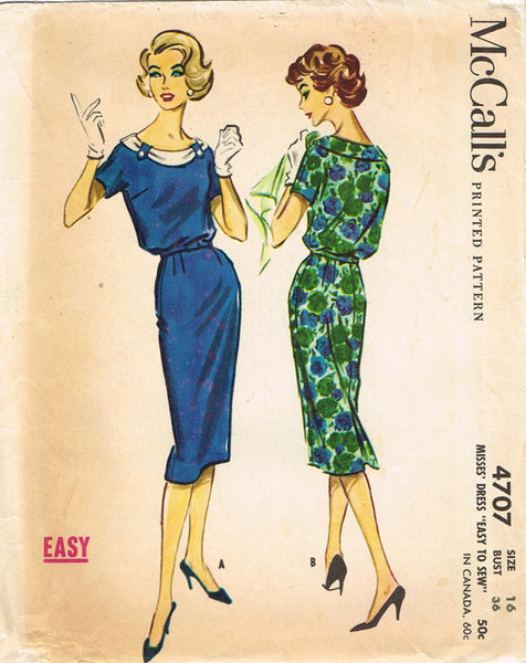 1950s Vintage McCalls Sewing Pattern 4707 Easy Misses Street Dress Size 12 32B