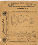1910s Vintage McCall Sewing Pattern 4710 Little Girl's Guimpe Blouse Size 10 - Vintage4me2