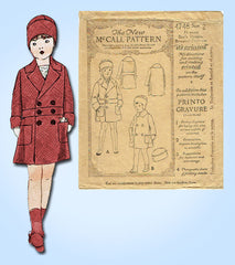 1920s Vintage McCall Sewing Pattern 4748 Baby Boys Double Breasted Coat Size 2