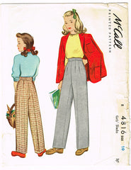 1940s Vintage McCall Sewing Pattern 4816 WWII Little Girls Slacks or Trousers 10