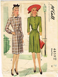 1940s Vintage McCall Sewing Pattern 4859 Misses WWII Tailored Dress Size 16 34B - Vintage4me2