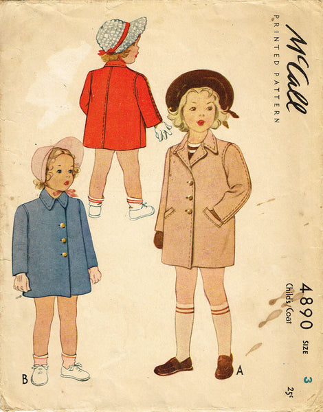 1940s Vintage McCall Sewing Pattern 4890 WWII Toddler Girls or Boys Coat Size 3 - Vintage4me2