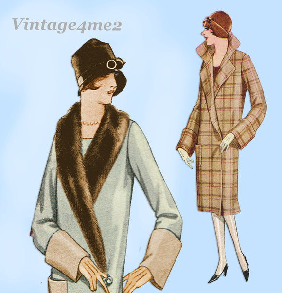 McCall 4912: 1920s Plus Size Womens Flapper Coat Sz 42 B Vintage Sewing Pattern