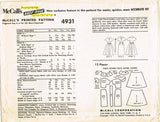 1950s Vintage McCalls Sewing Pattern 4931 Little Girls Easy Dress Size 8s 28B