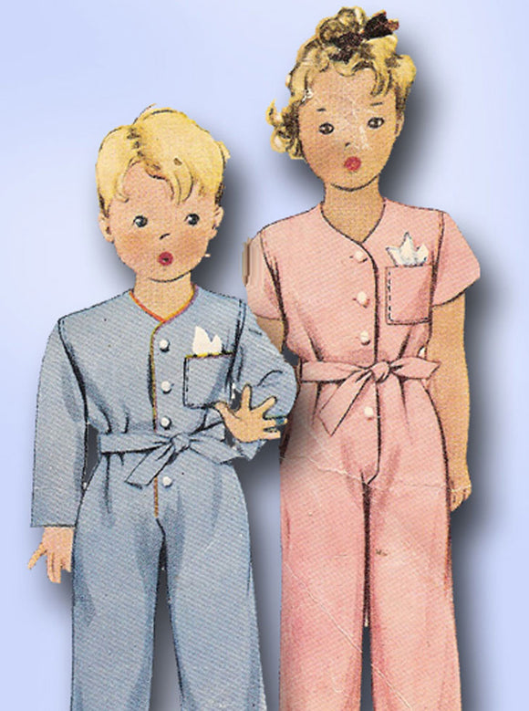 1940s Vintage McCall Sewing Pattern 4949 WWII Toddler Boys & Girls Pajamas Sz 1 -Vintage4me2