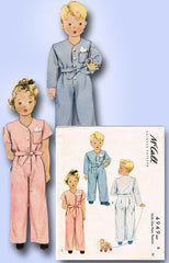 1940s Vintage McCall Sewing Pattern 4949 WWII Pajamas Boys Girls Child Size 6 - Vintage4me2