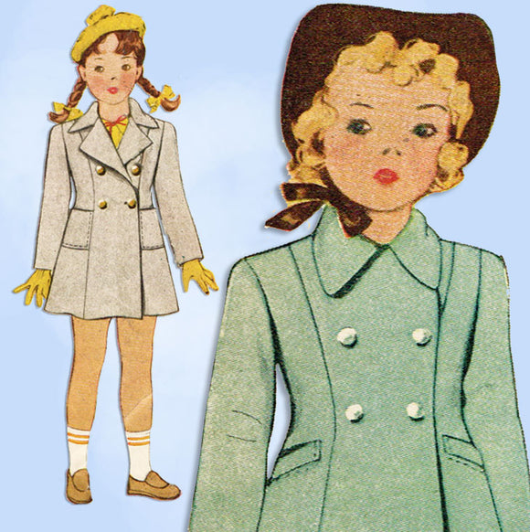 1940s ORIG Vintage McCall Sewing Pattern 5148 Toddler Girls Princess Coat Size 6 -Vintage4me2