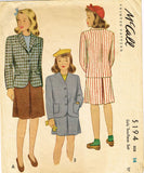 1940s Vintage McCall Sewing Pattern 5194 WWII Junior Girls 2 Piece Suit Size 14 - Vintage4me2