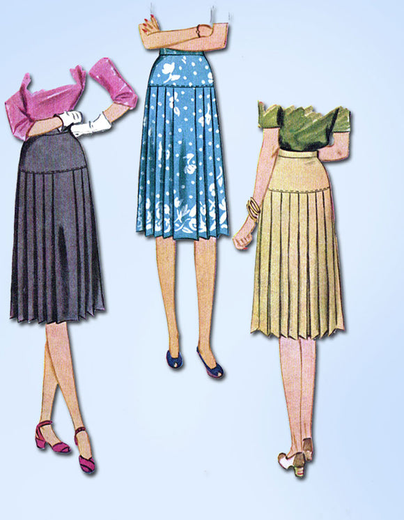 1940s Vintage McCall Sewing Pattern 5209 Uncut Misses WWII Pleated Skirt Sz 30 W - Vintage4me2