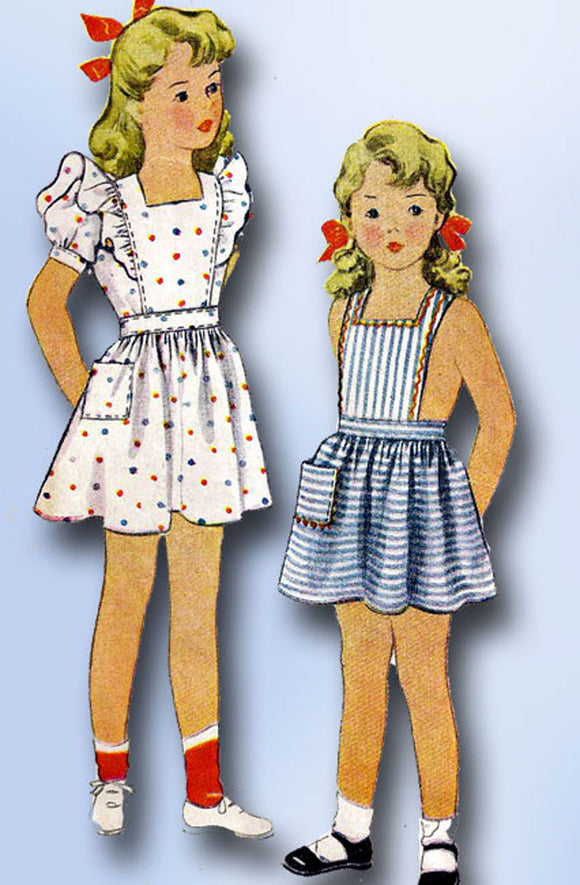 1940s Vintage McCall Sewing Pattern 5233 Baby Girls WWII Pinafore Dress Size 1 - Vintage4me2