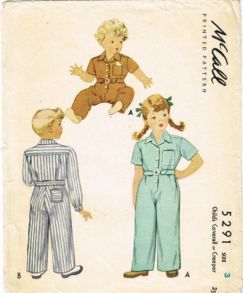 1940s Vintage McCall Sewing Pattern 5291 WWII Toddler Boys Coveralls Size 3 22B - Vintage4me2