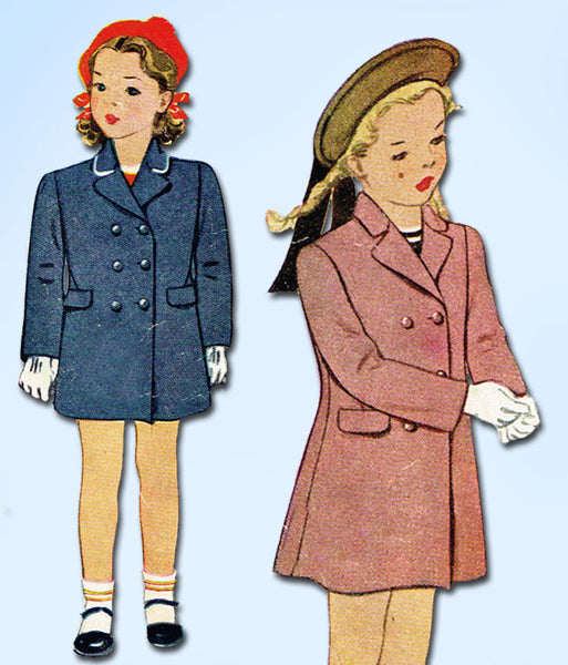 1940s Vintage McCall Sewing Pattern 5349 Toddler Girls Princess Coat Size 3 22B - Vintage4me2