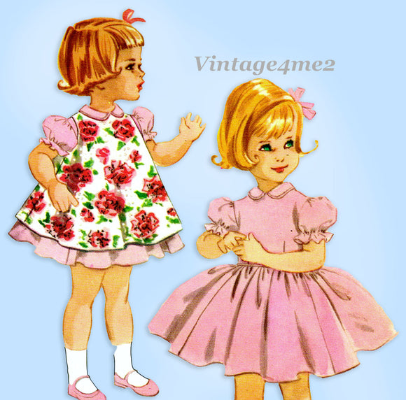 1960s Vintage McCall Sewing Pattern 5388 Uncut Toddler Girls Dress & Popover Sz 2