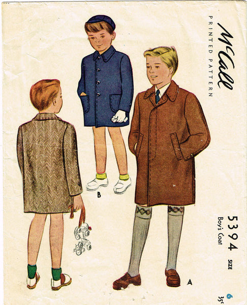 1940s Vintage McCall Sewing Pattern 5394 WWII Toddler Boy's Coat Size 6 24 Bust - Vintage4me2
