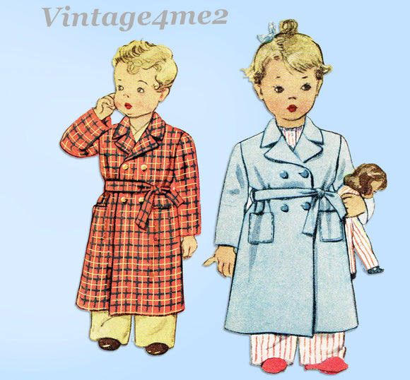 1940s Vintage McCall Sewing Pattern 5431 Cute Toddler Girls Bathrobe Size 1