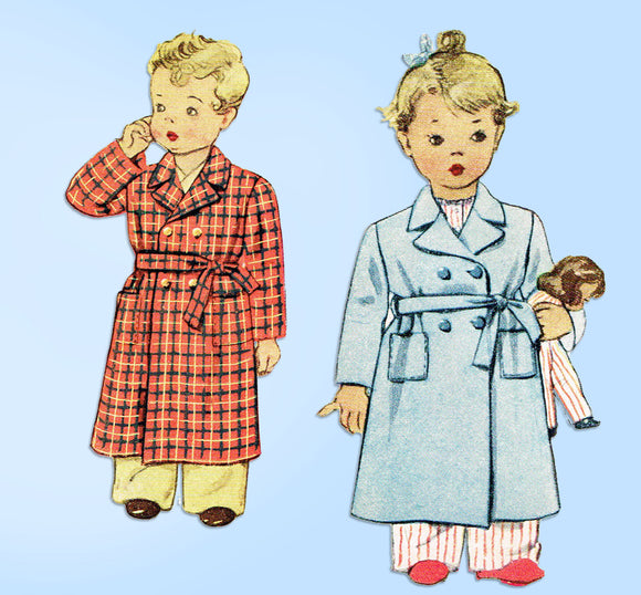 1940s Vintage McCall Sewing Pattern 5431 Cute Toddler Girls Bathrobe Size 6