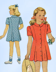 1940s Vintage McCall Sewing Pattern 5433 WWII Toddler Girls Princess Dress Sz 6