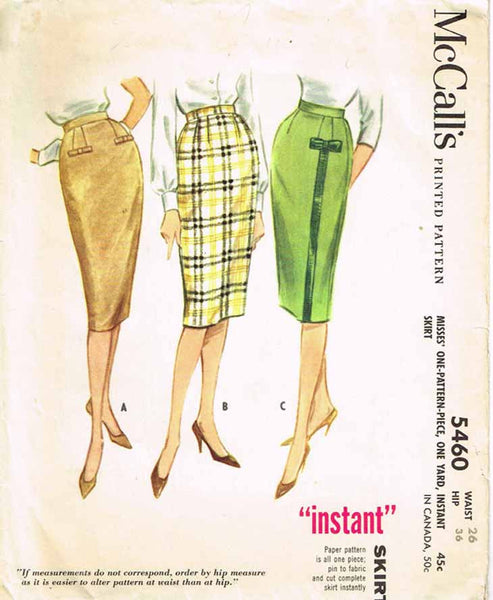 1960s Vintage McCalls Sewing Pattern 5460 Easy 1 Yard Pencil Skirt Size 26 W