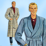 1940s Vintage McCall Sewing Pattern 5465 Classic Men's Bath Robe Sz 34 36 Chest