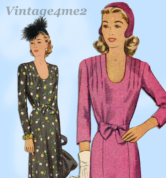 McCall 5488: 1940s Uncut Misses WWII Dinner Dress Sz 36 Bust Vintage Sewing Pattern - Vintage4me2