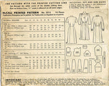 1940s Vintage McCall Sewing Pattern 5515 WWII Misses Shirtwaist Dress Sz 12 30B - Vintage4me2