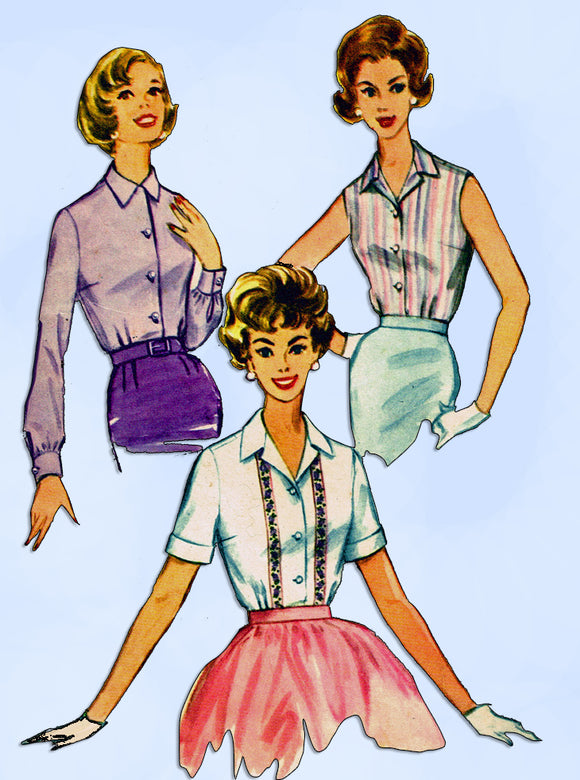 1960s Vintage McCall's Sewing Pattern 5572 Misses Easy to Sew Blouse Sz 32 Bust