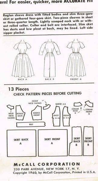 1960s Vintage McCalls Sewing Pattern 5604 Dress Size 9