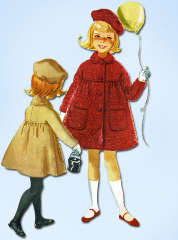 1960s Vintage McCalls Sewing Pattern 5615 Uncut Toddler Girls Coat & Hat Size 5