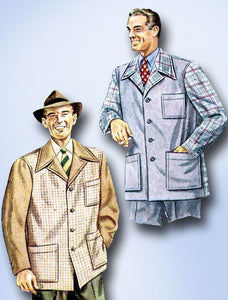 1940s Vintage Mens Sports Coat Uncut 1944 McCall Sewing Pattern 5628 Size MED