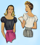 1940s Vintage McCall Sewing Pattern 5645 WWII Misses' Peasant Blouse Size 12 30B - Vintage4me2