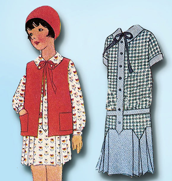 1920s Vintage McCall Sewing Pattern 5692 Uncut Toddler Girls Flapper Dress Sz 6 - Vintage4me2