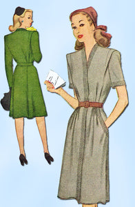 1940s Vintage McCall Sewing Pattern 5727 WWII Misses' Street Dress Size 16 34B - Vintage4me2