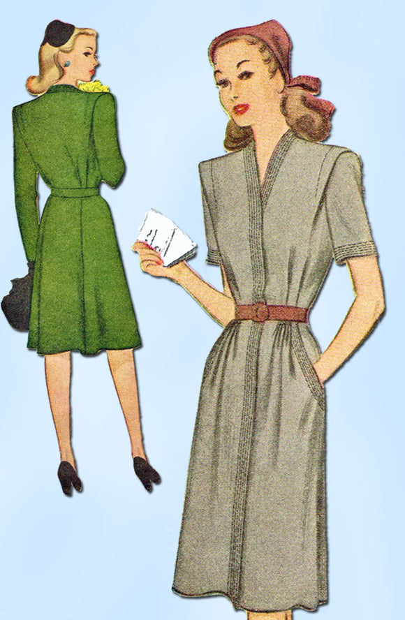 1940s Vintage McCall Sewing Pattern 5727 Uncut WWII Women's Dress Size 20 38B - Vintage4me2