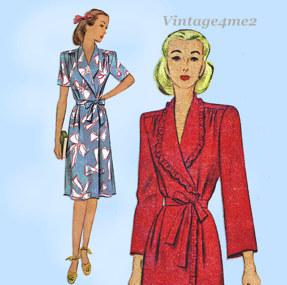 McCall 5737: 1940s WWII Plus Size Housecoat Size 46 Bust Vintage Sewing Pattern