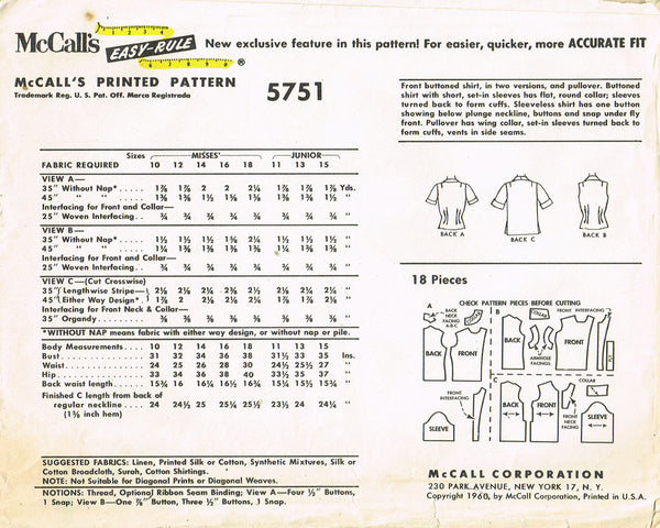 1960s Vintage McCalls Sewing Pattern 5751 Uncut Misses Sporty Blouse Size 15 35B
