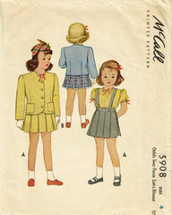 1940s Vintage McCall Sewing Pattern 5908 WWII Toddler Girls 2 Pc Suit Size 4 - Vintage4me2