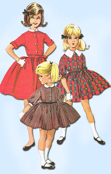 1960s Vintage McCalls Sewing Pattern 5985 Toddler Girls Shirtwaist Dress Size 6