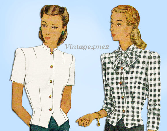 McCall 5998: 1940s Uncut Misses WWII Blouse Size 38 Bust Vintage Sewing Pattern