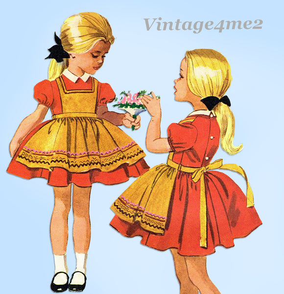 1960s Vintage McCall's Sewing Pattern 6024 Toddler Girls Helen Lee Dress Size 6