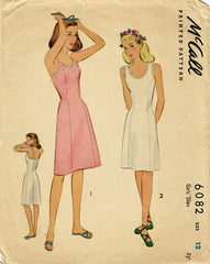 1940s Original Vintage McCall Pattern 6082 Little Girls Princess Cut Slip Sz 12