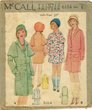 McCall 6104: 1930s Uncut Little Girls Flapper Coat Size 6 Vintage Sewing Pattern