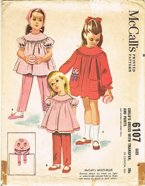 1960s Vintage McCalls Sewing Pattern 6107 Baby Girls Smock Top and Pants Size 1