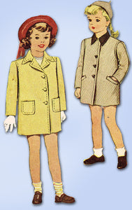 1940s Vintage McCall Sewing Pattern 6158 WWII Toddler Girls Coat Size 2 21 Bust - Vintage4me2