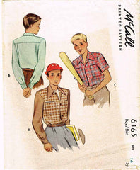 1940s Vintage McCall Sewing Pattern 6165 WWII Little Boys Sports Shirt Size 14 - Vintage4me2