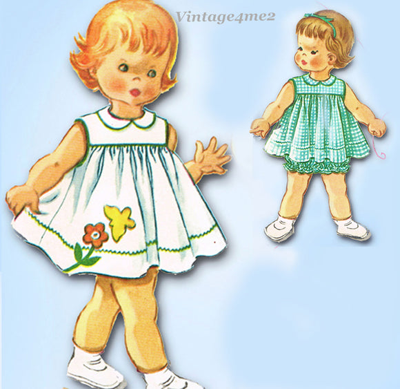 1960s Vintage McCalls Sewing Pattern 6172 Baby Girls Bloomer Dress Size 1