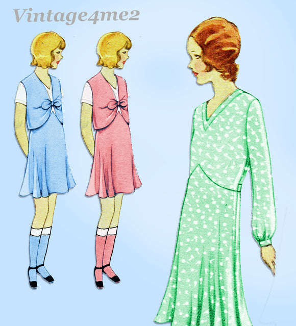 McCall 6190: 1930s Uncut Little Girls Bolero Dress Sz 10 Vintage Sewing Pattern