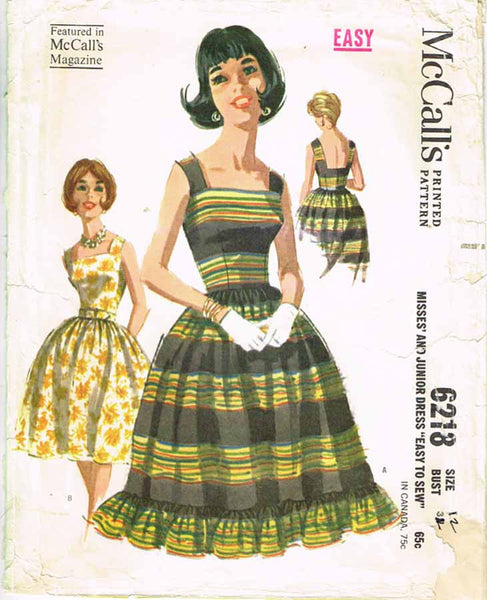 1960s Vintage McCalls Sewing Pattern 6218 Misses Easy Sun Dress Size 12 32 Bust