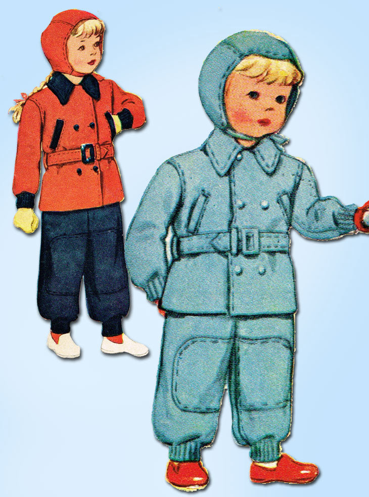1940s Vintage McCall Sewing Pattern 6241 Cute WWII Toddler Snow Suit & Cap Size 4